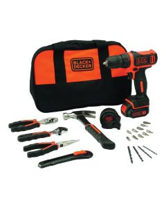 Black & Decker 10.8V Drill Driver With Tools And Bag