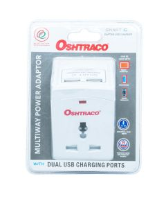Oshtraco 3 Way Multi Adapter with 2 X2.4A USB