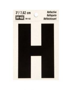 Hy-Ko 3 Inches Black Reflective Letter H