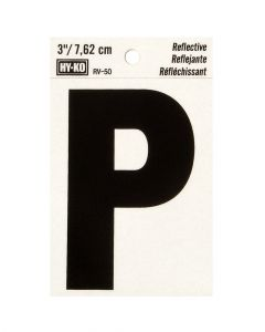 Hy-Ko 3 Inches Black Reflective Letter P