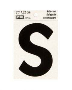 Hy-Ko 3 Inches Black Reflective Letter S