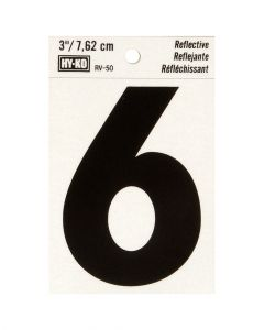 Hy-Ko 3 Inches Black Reflective Number 6