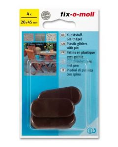 Fix-O-Moll Plastic Gliders With Pin Brown 20Mm