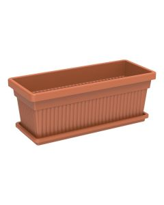 Cosmoplast Rectangle Planter 18 inch With Tray Terracotta