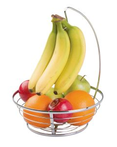 Interdesign Axis Fruit Bowl With Banana Hanger 10 x 10 x 13 inch Chrome