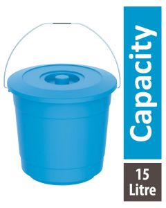 Cosmoplast Bucket with lid 15 Litre Blue