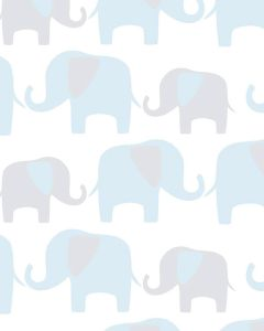 Brewster Blue Elephant Parade Peel And Stick Wallpaper