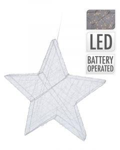 Homesmiths Christmas Wire Star Silver 40cm 50Led
