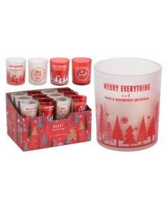 Homesmiths Christmas Candle In Glass 5 x 6cm Assorted Design 1 Piece Per Pack