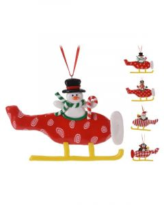 Homesmiths Christmas Helicopter Figure 8cm Assorted Design 1 Piece Per Pack