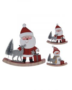 Homesmiths Christmas Decoration Rocking Base Wood Assorted 1 Piece Per Pack