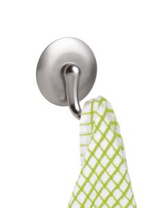 Interdesign Affixx York Hook - Large Brushed 1.7 x 4.6 x 5.5 inch Stainless Steel