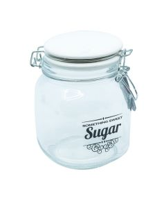 Home Basics HDS Glass Jar with ceramic flip lid Top Small