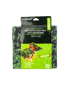 Fit and Fresh Sandwich and Snack Pack Green Jungle Texture