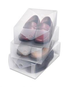 Whitmor Clear Men Shoe Boxes Small Set of 3 Pieces