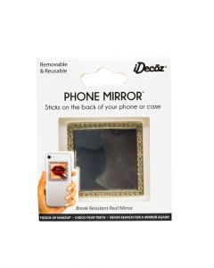 IDecoz Phone Mirrors Gold Square with Crystals