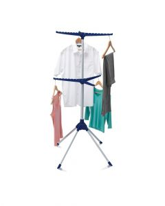 Addis 6 Arm Iron Tidy and Airer Silver & Blue