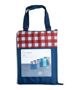 Vista Outdoor Picnic Blanket Tote, Navy With Red Check