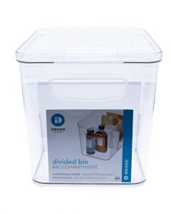 Inter Design Crisp Divided Bin 8 x 12 x8  Clear/Matte White