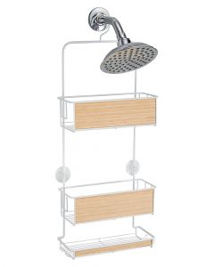Inter design Realwood Shower Caddy White & Light Wood Finish