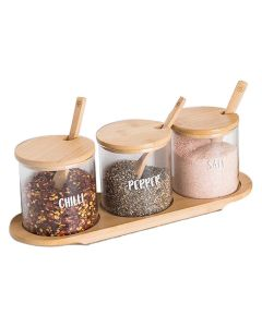Little Storage Co Bamboo Glass Trio with tray and spoon