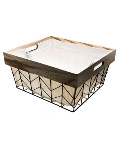 Whitmor Wire & Wood Shelf Tote Chevron Pattern with Liner