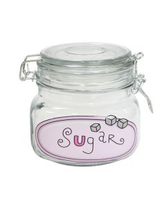 Orchid Square Glass Canister Sugar 500ml