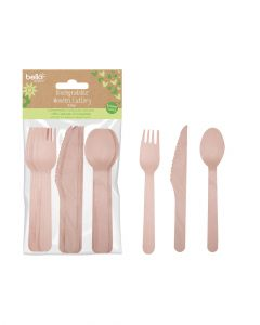 Rsw Biodegradable Wooden Cutlery Set 15 Pieces