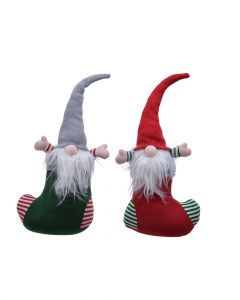 Homesmiths Christmas Doorstopper Gnome 2 Assorted Colors 1 Piece