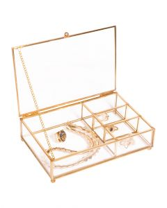 Simplify Vintage Gold Large 4 Section With Top Lid Cosmetic & Jewelry Glass Box