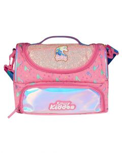 Smily Kiddos Double Compartment Holographic Lunch Bag Unicorn Theme Pink