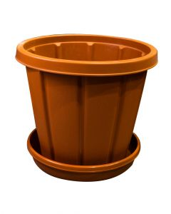Cosmoplast Woodgrain Pot With Tray 10 Inches Terracotta