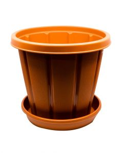 "Cosmoplast 12"" With Tray Terracotta"