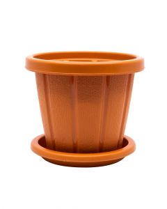 Cosmoplast Pot Woodgrain With Tray 14 Inch Terracotta