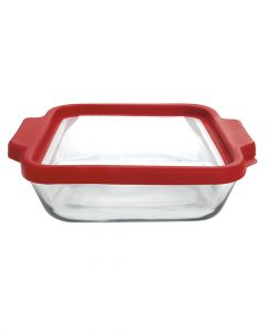 Anchor Hocking 8 inch Square Preferred Cake Dish With Cherry Truefit Lid