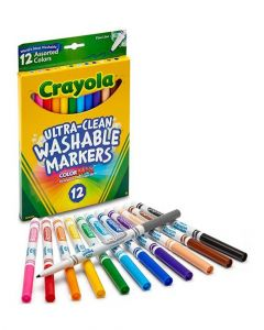Crayola 12 Count Ultra Clean Washable Assorted, Fine Line, Colormax Markers