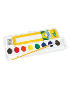 Crayola 8 Count Washable Watercolor Pans With Plastic Handled Brush