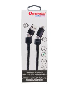 Oshtraco Dual Pin Convertible Data Sync & Charging Cable 1 Meter