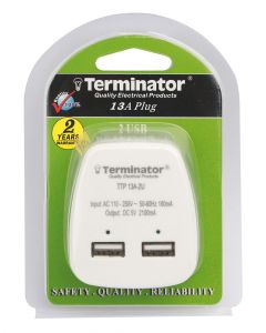 Terminator 2.1 A 2 USB Ports Charger White