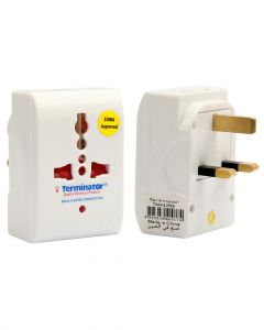 Terminator brand 3 Way Universal Multi Adaptor One Universal Socket & 2x2 Round Pin Sockets With Live Earth 13A Plug