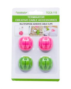 Terminator Brand Creative Cable Accessories Multipurpose Adhesive Cable Clips Pack Of 4 Piece