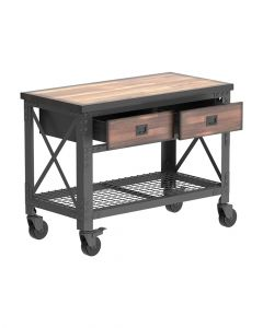 Cosmoplast Industrial Wooden Workbenches 48 inch With Steel Frame & Wheels