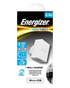 Energizer Hightech Dual USB 2.4A Universal Wall Charger White