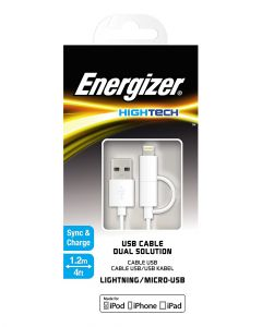 Energizer High Tech 2 in 1 Cable White Pack of 1