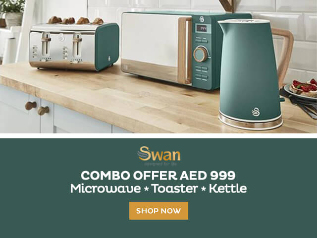 swan, small appliances, combo offer, kettle, toaster, microwave, aed 999